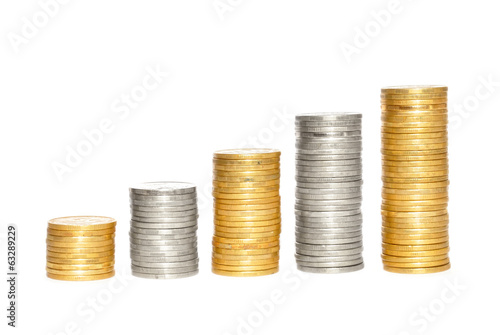 Savings, increasing columns of gold and silvercoins over white b