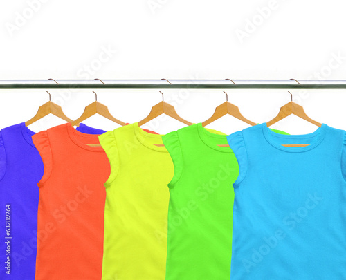 Clothes on circle hanger isolated on white background
