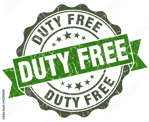 Duty free green grunge retro style isolated seal