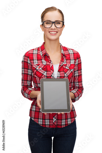 smiling girl with blank tablet pc screen