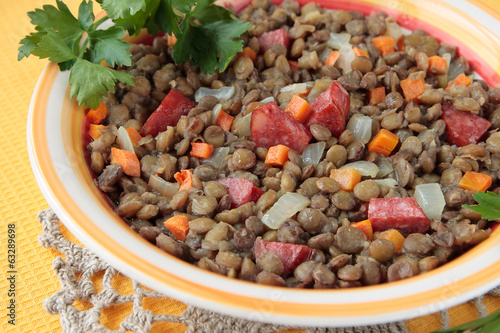 Stewed lentil with smoked sausage