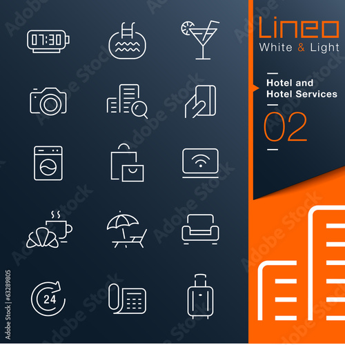 Lineo White & Light - Hotel and Hotel Services outline icons