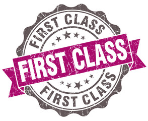 First class violet grunge retro style isolated seal