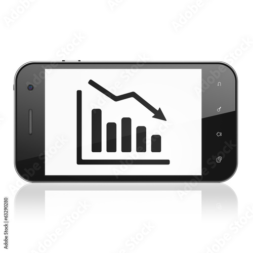 Business concept: Decline Graph on smartphone