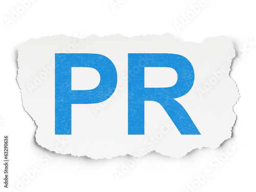 Advertising concept: PR on Paper background