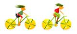 Teenagers cycling.