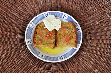bread with olive oil and tomato