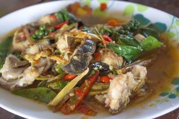 Spicy Stir Fried Catfish with thai food