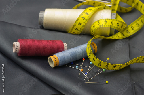 Thread Spools, Pin and Yellow Measuring Tape.