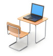 School desk with laptop