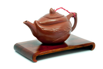 Chinese Teapot on stand in white background