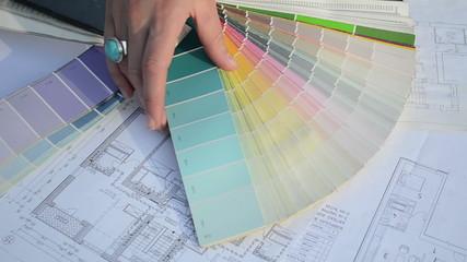 woman choose tint hue color scale palette flat house plans
