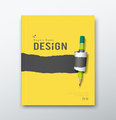 Cover annual report, yellow and black paper roll ripped