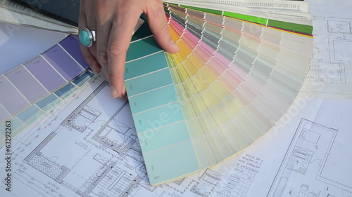 woman choose tint hue color scale palette flat house plans