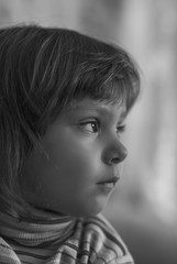 Portrait of little girl profile