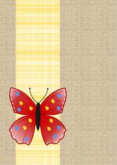 Schmetterling auf kariertem Band auf Leinenstoff