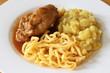 Gefülltes Kalbsschnitzel mit Spätzle & Kartoffelsalat