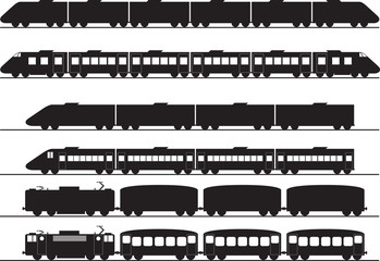 Set of electric and diesel trains illustrated on white