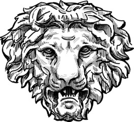 snarling lion head