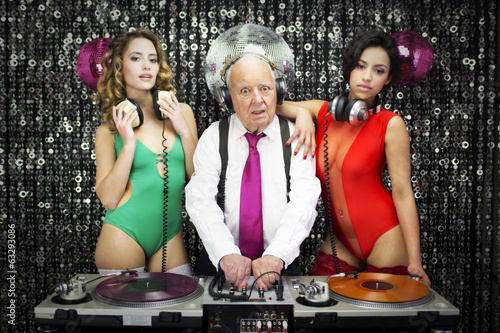 grandpa DJ and two beauitful gogo dancers Poster