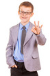 Handsome Little Boy in a Business Suit, Isolated