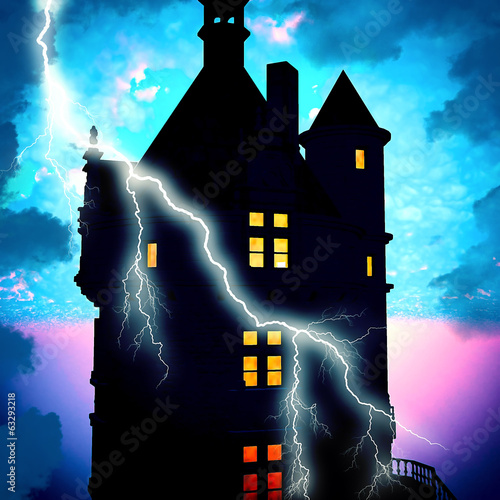 Haunted house with lightning