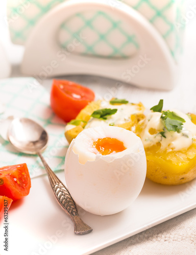 Boiled egg with potato