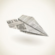 Paper airplane folded newspaper, vector icon - 63293877
