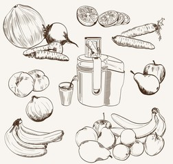 vector fruit juice set sketch