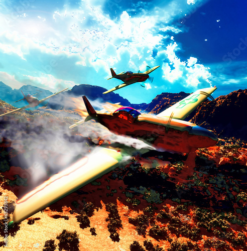 Military planes over land