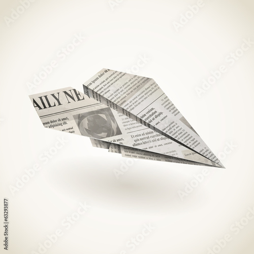 Paper airplane folded newspaper, vector icon