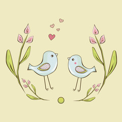 Two cute little birds are framed by flowers