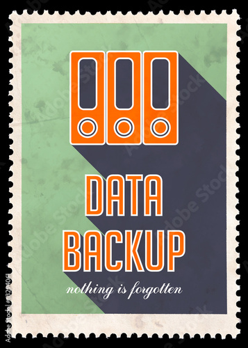 Data Backup on Green in Flat Design.