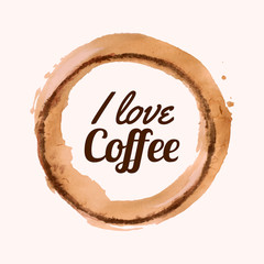 """Vector illustration with """"I love coffee"""" phrase and pour coffee"""