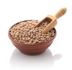 chickpeas in a clay bowl