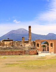 Ruins of Pompeii and volcano Mount Vesuvius