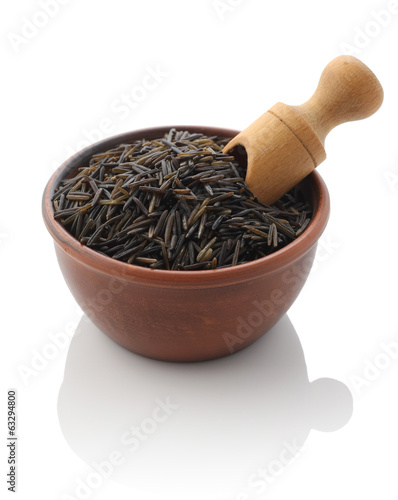 wild rice in a clay bowl