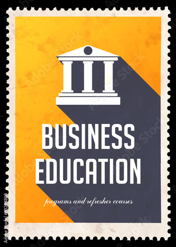 Business Education on Yellow in Flat Design.