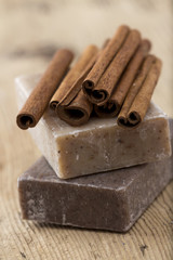 Handmade organic soap with cinnamon