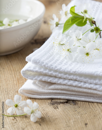 Bath towel and flower