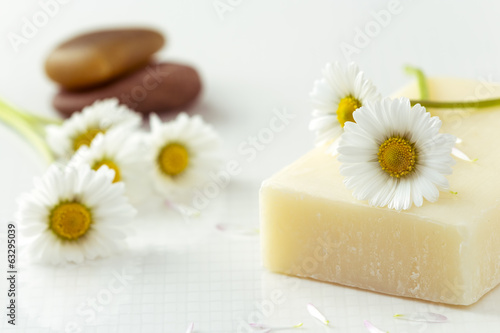 Organic Soap and Daisy Flower