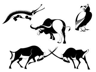 Vector original art animal silhouettes collection for design 7