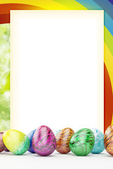 Frame with rainbow and ester eggs