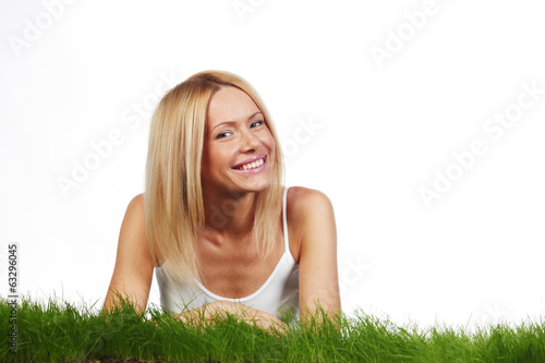Woman laying on grass