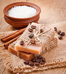 Natural soap on wooden background
