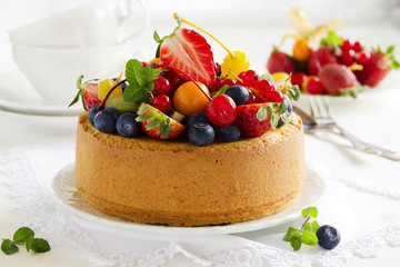 Chiffon cake with summer berries and cream.
