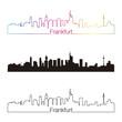 Frankfurt skyline linear style with rainbow