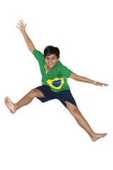 Soccer Boy, jumping, Brazilian flag