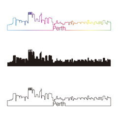 Perth skyline linear style with rainbow