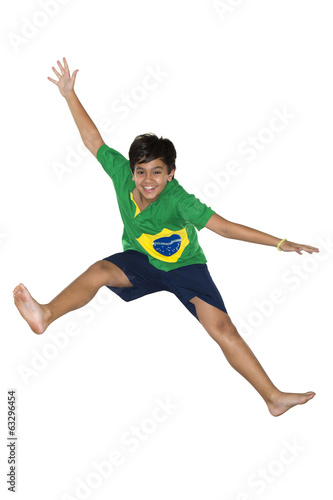 Soccer Boy, jumping, Brazilian flag